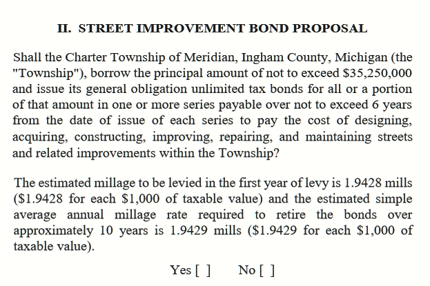 Meridian roads bond proposal